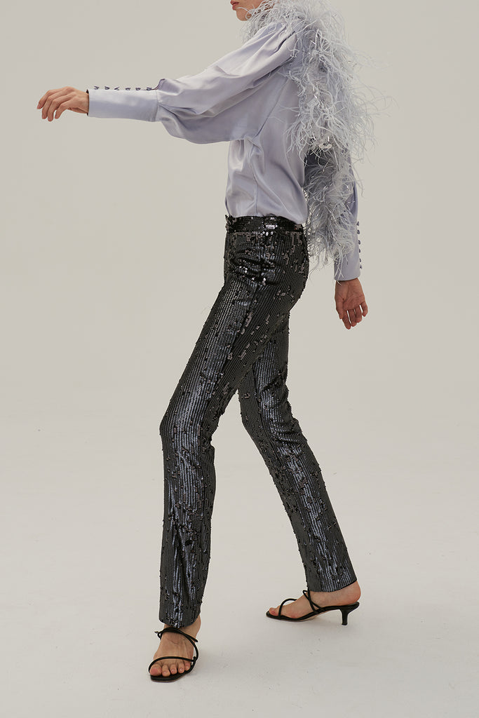 Dark Sparkle Trousers-Grey