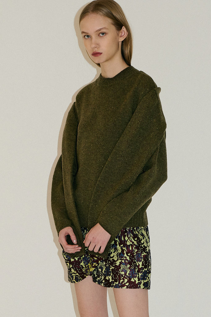 Woolknit Wrap Sweater-Olive Green