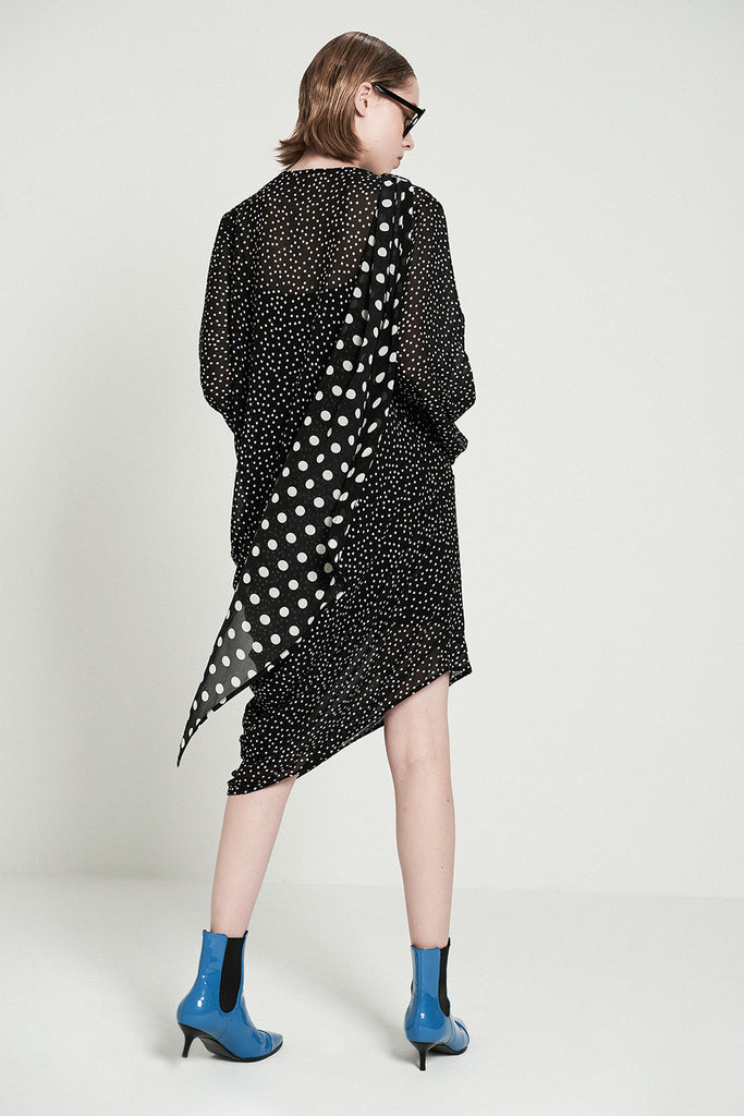 Asymmetric Polka Dot Midi Dress With Scarf - front row shop