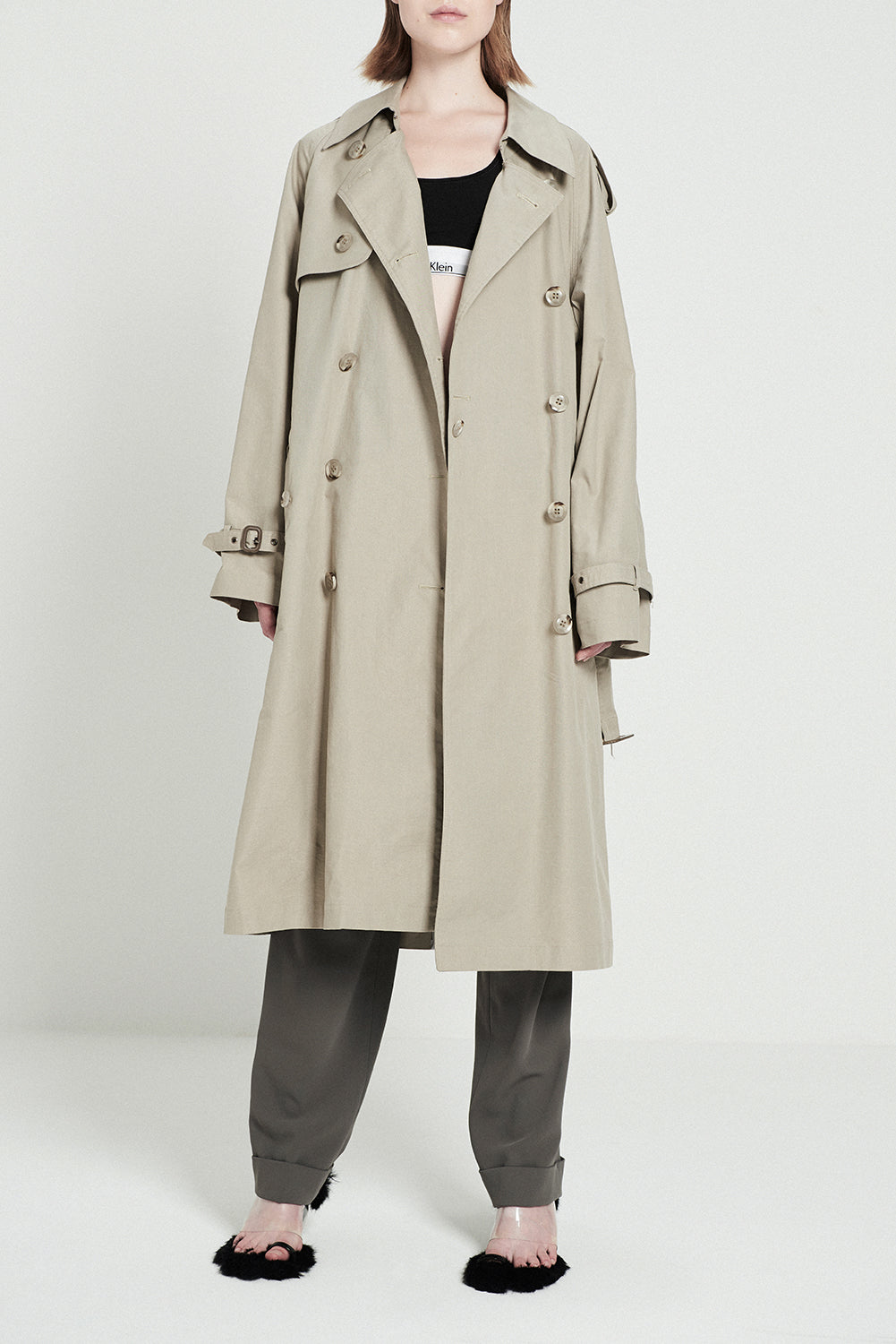 Khaki Trench Coat With Removeble Skirt Pleat - front row shop