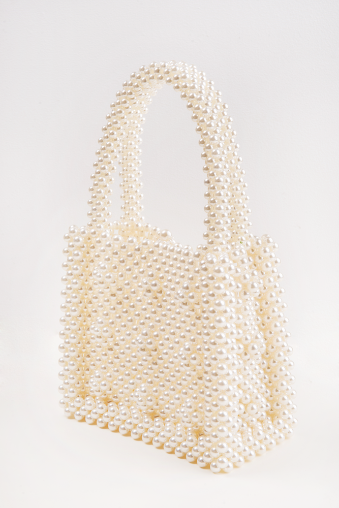 Handicraft Faux Pearl Embellished Bag-White - front row shop