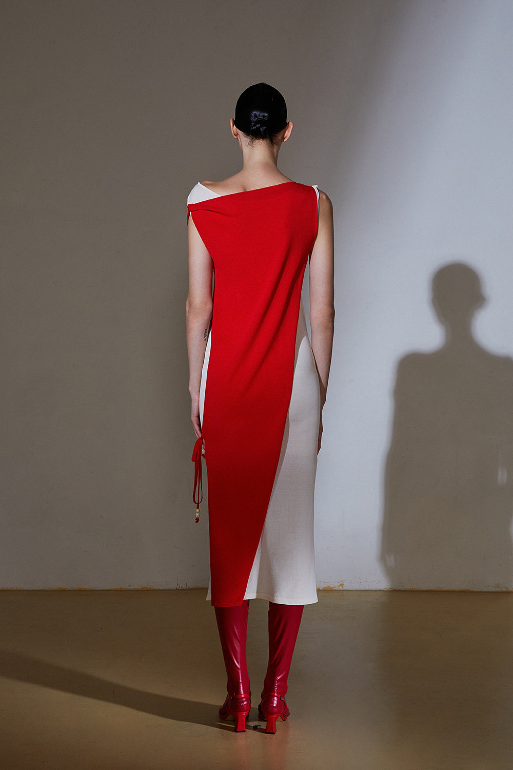 Wrap Up Dress-Red/Ivory