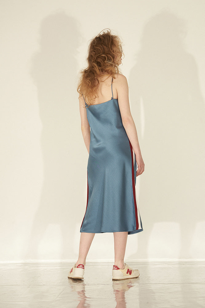 Color Block Satin Slip Dress - Blue - front row shop