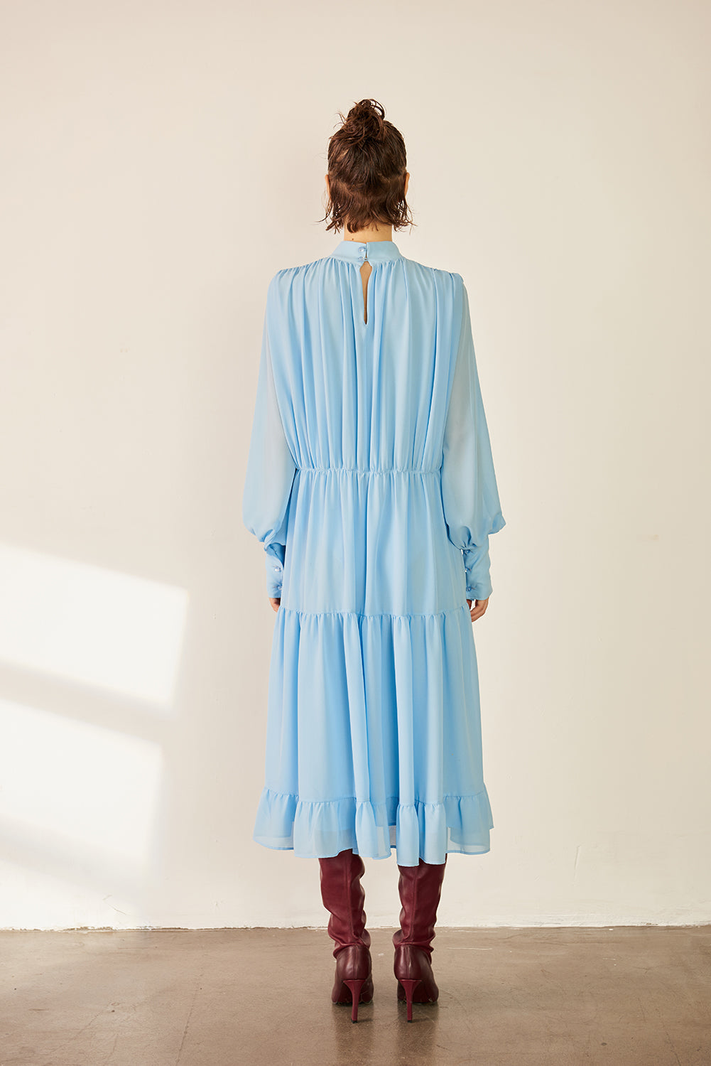 Puff Sleeve Shirred Chiffon Dress-Blue - front row shop