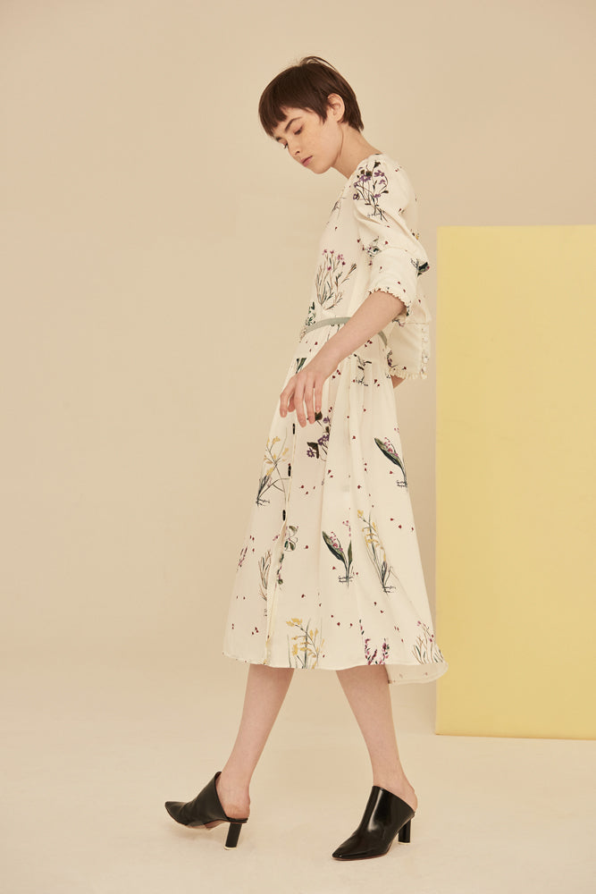 Floral Print Button Up Chiffon Dress - front row shop