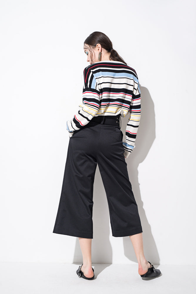 Black High Waisted Belted Wide Leg Pants