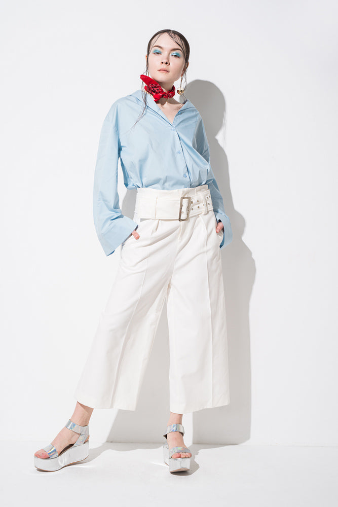White High Waisted Belted Wide Leg Pants