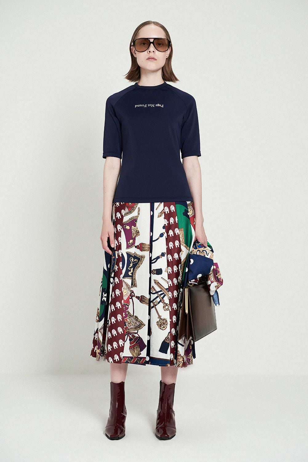 Scarf Print Patchwork Pleated Midi Skirt
