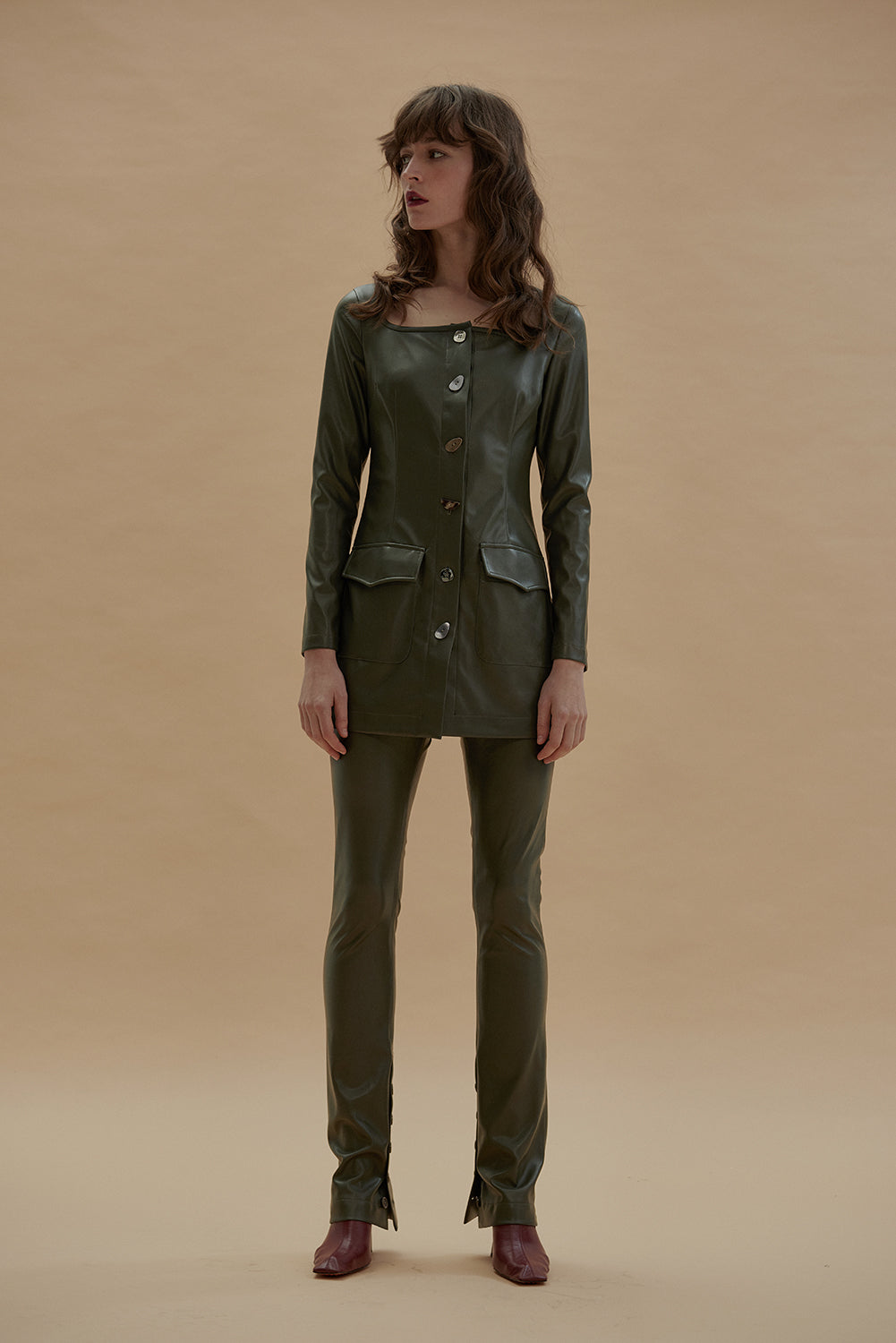 The Female Touch Skinny Pants-Olive