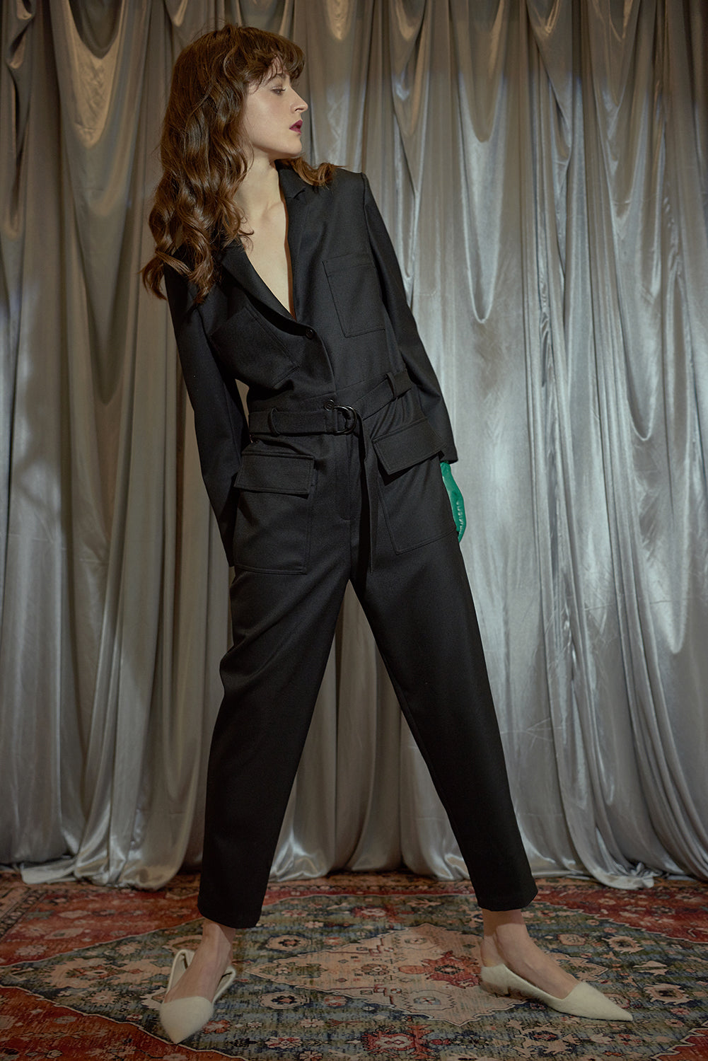 Four Pockets Jumpsuit-Black