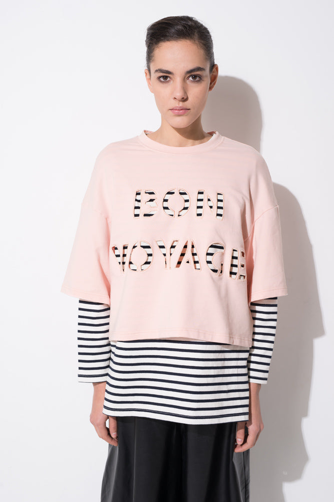 Pink 'BON VOYAGE' 2-Piece Top - front row shop
