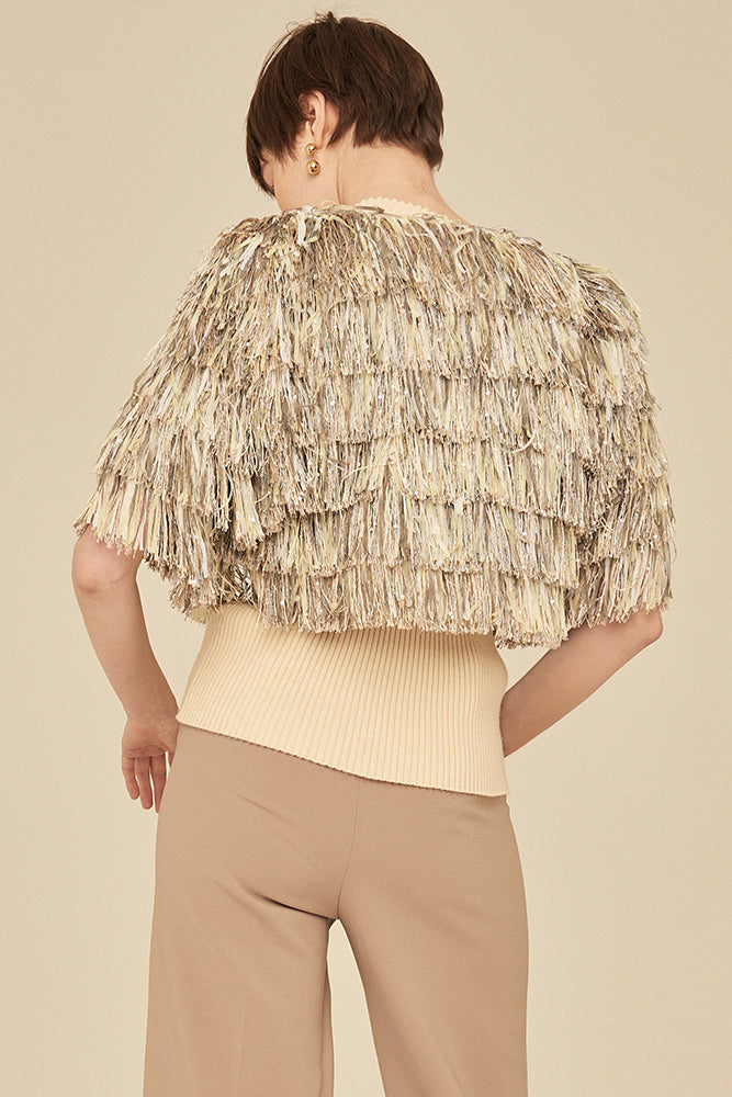 Fringe Short Jacket In Linen - front row shop