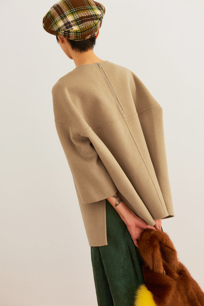 Oversized Wool-blend Top - front row shop