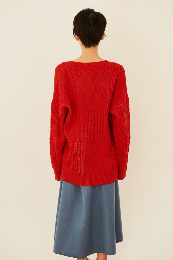 Cable-knit Wool Sweater - front row shop