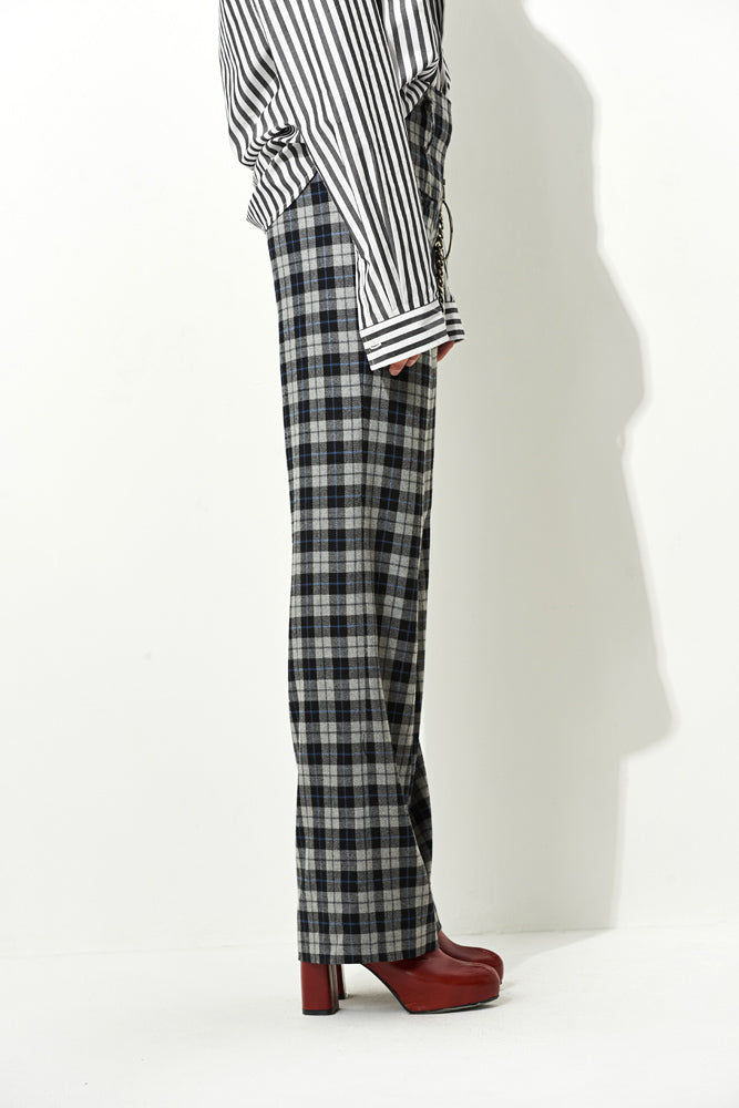Gingham Wide Leg Pants - front row shop