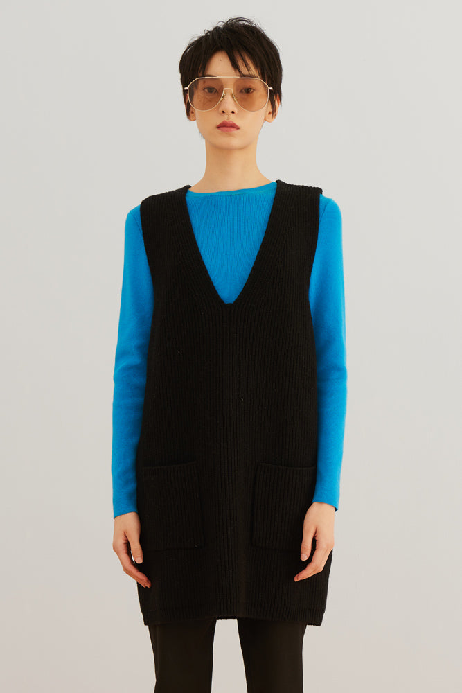 Ribbed Wool Vest Dress - front row shop