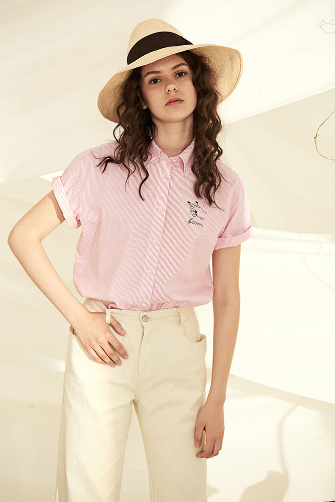 Pink Stripe Holiday Shirt - front row shop