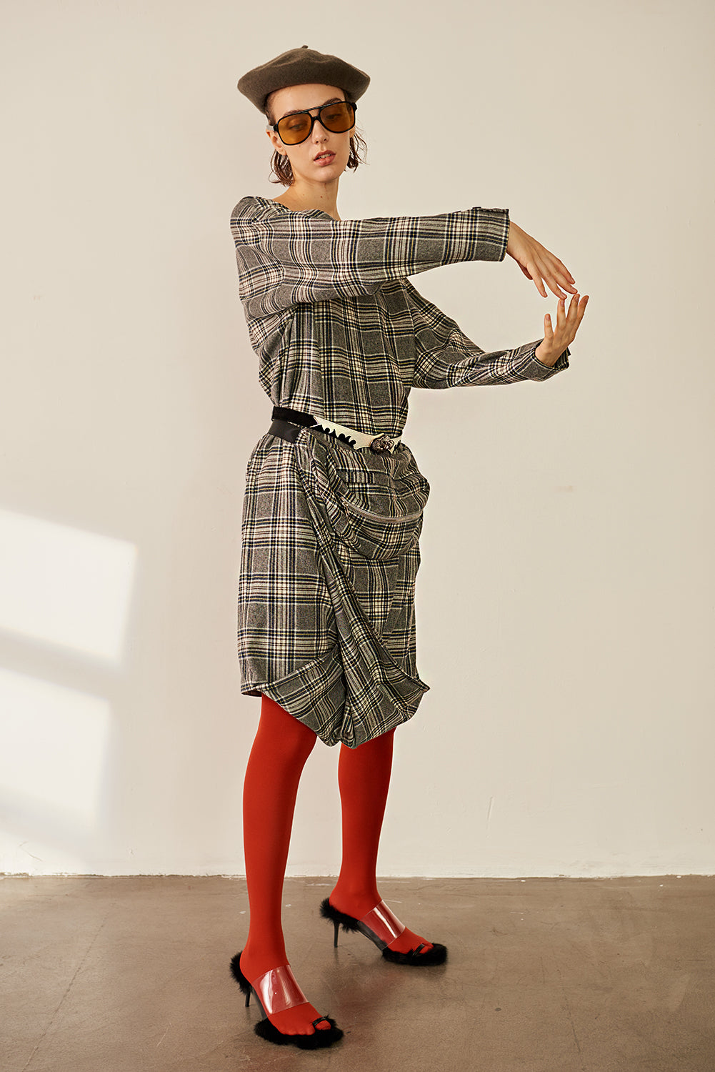 Waist Draped Checked Dress