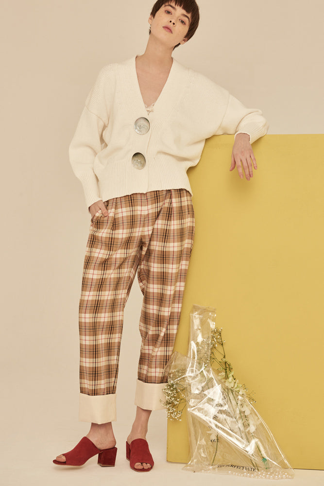 Checked Roll-Up Pants - front row shop