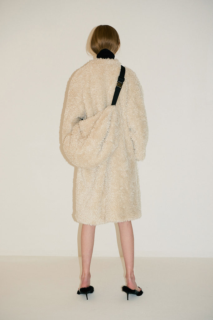Chiara Fauxfurcoat+Bag 1set-Beige