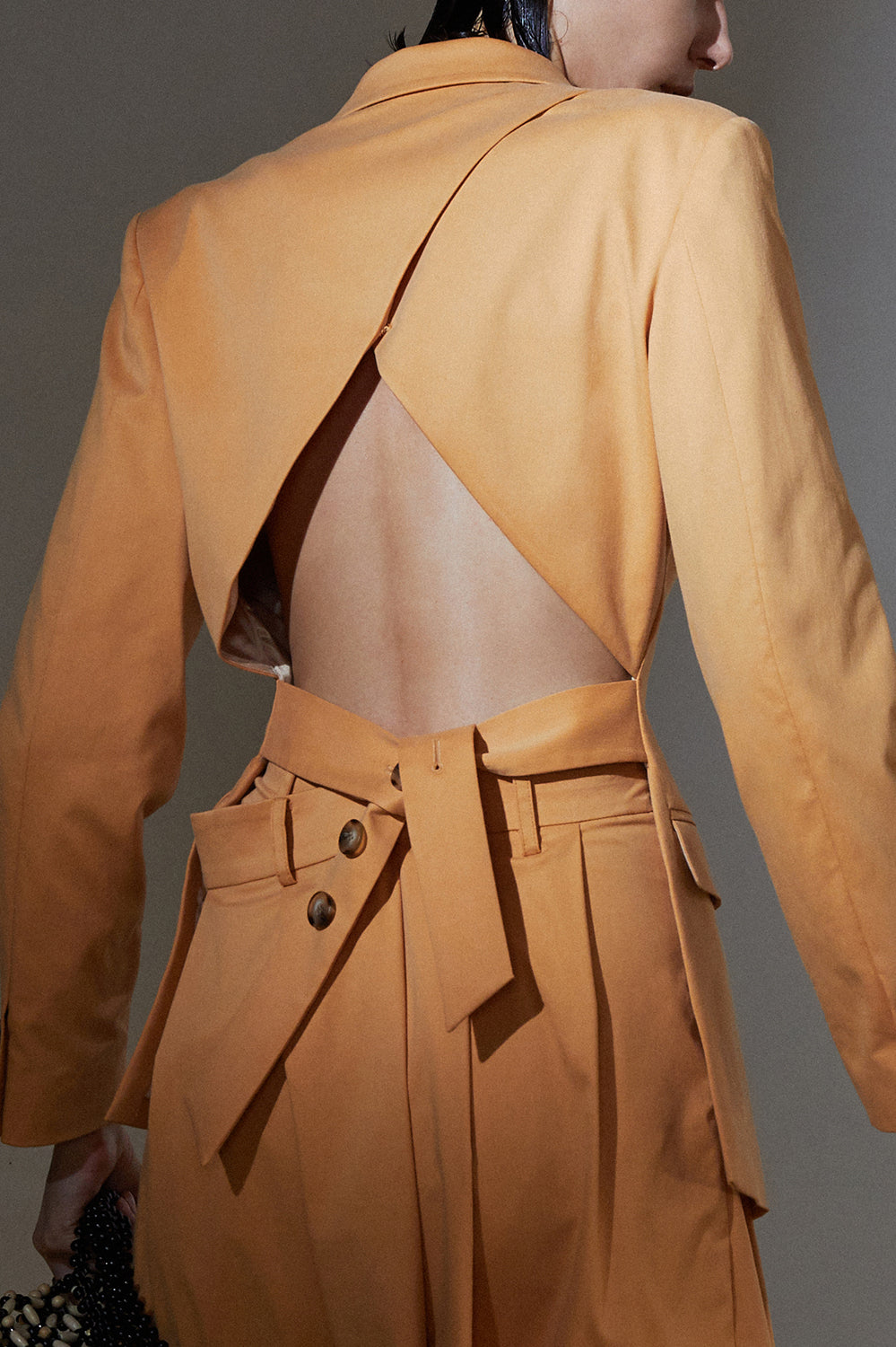 Cropped Back Blazer-Ocre