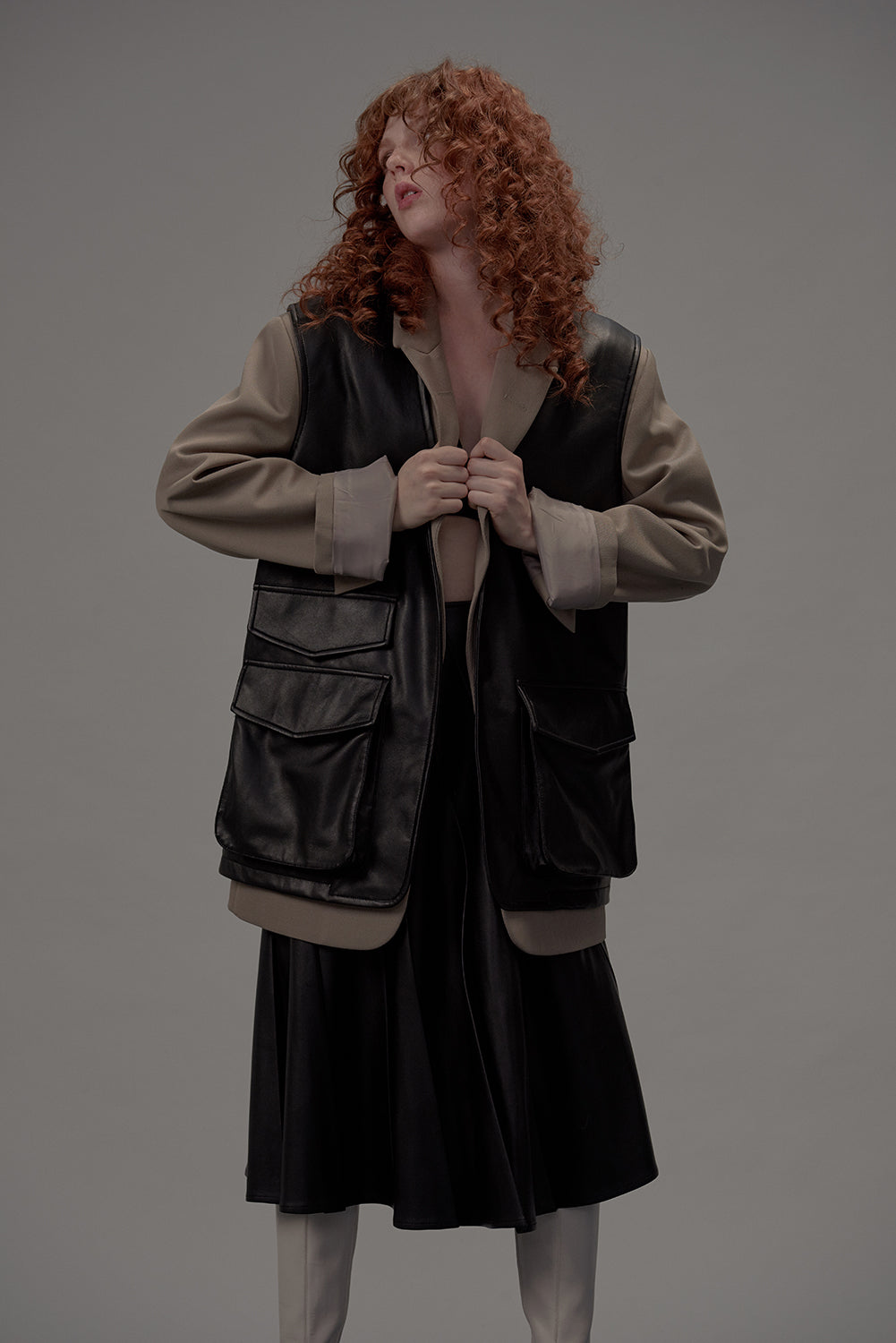 Oversize Vest Faux Leather-Black