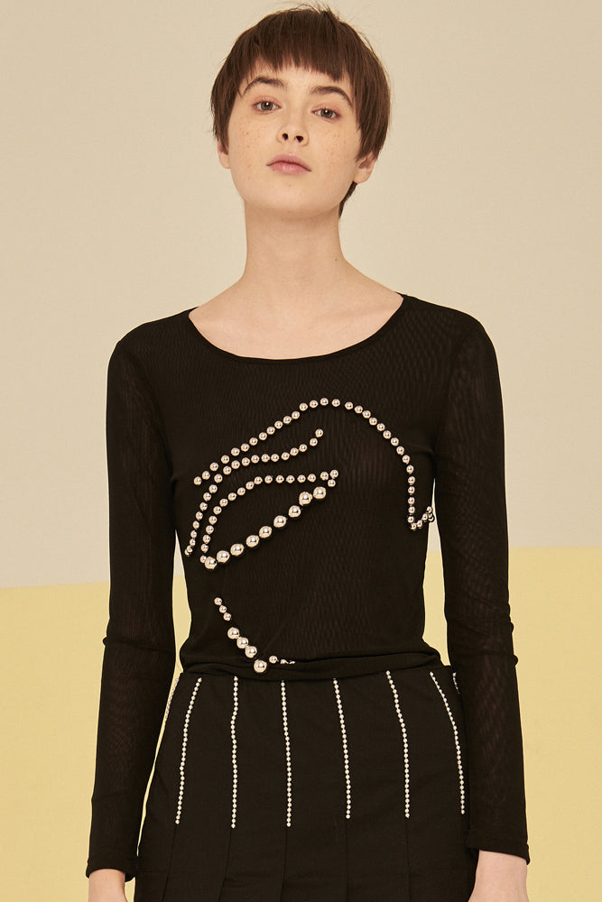 Mesh Top With Metallic Balls-Black - front row shop