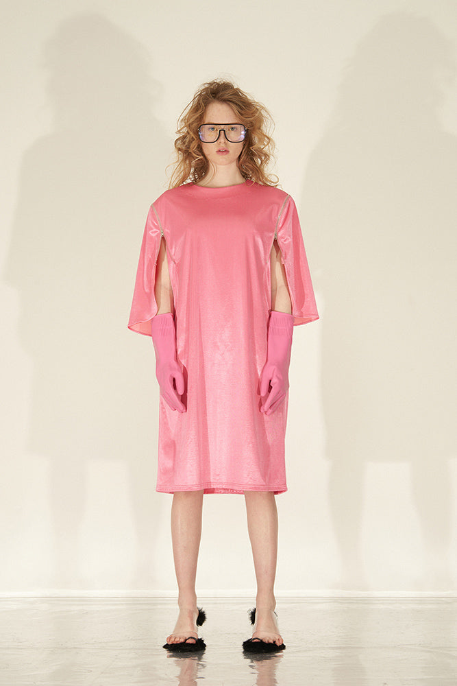 Cape Shift Dress With Padded Shoulder-Pink - front row shop