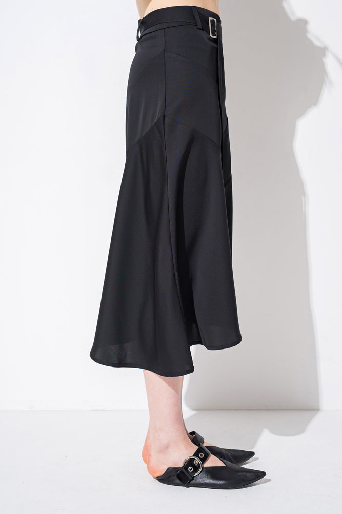 Black D-ring Irregular Hem Skirt