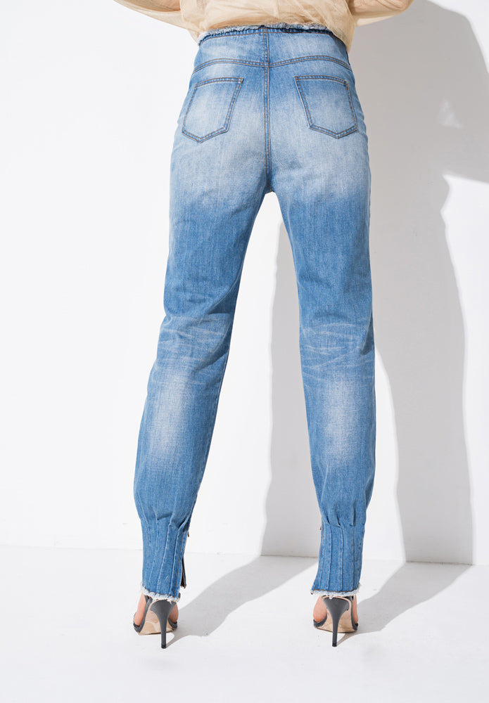 Blue Light Wash Denim Tapered Pants - front row shop