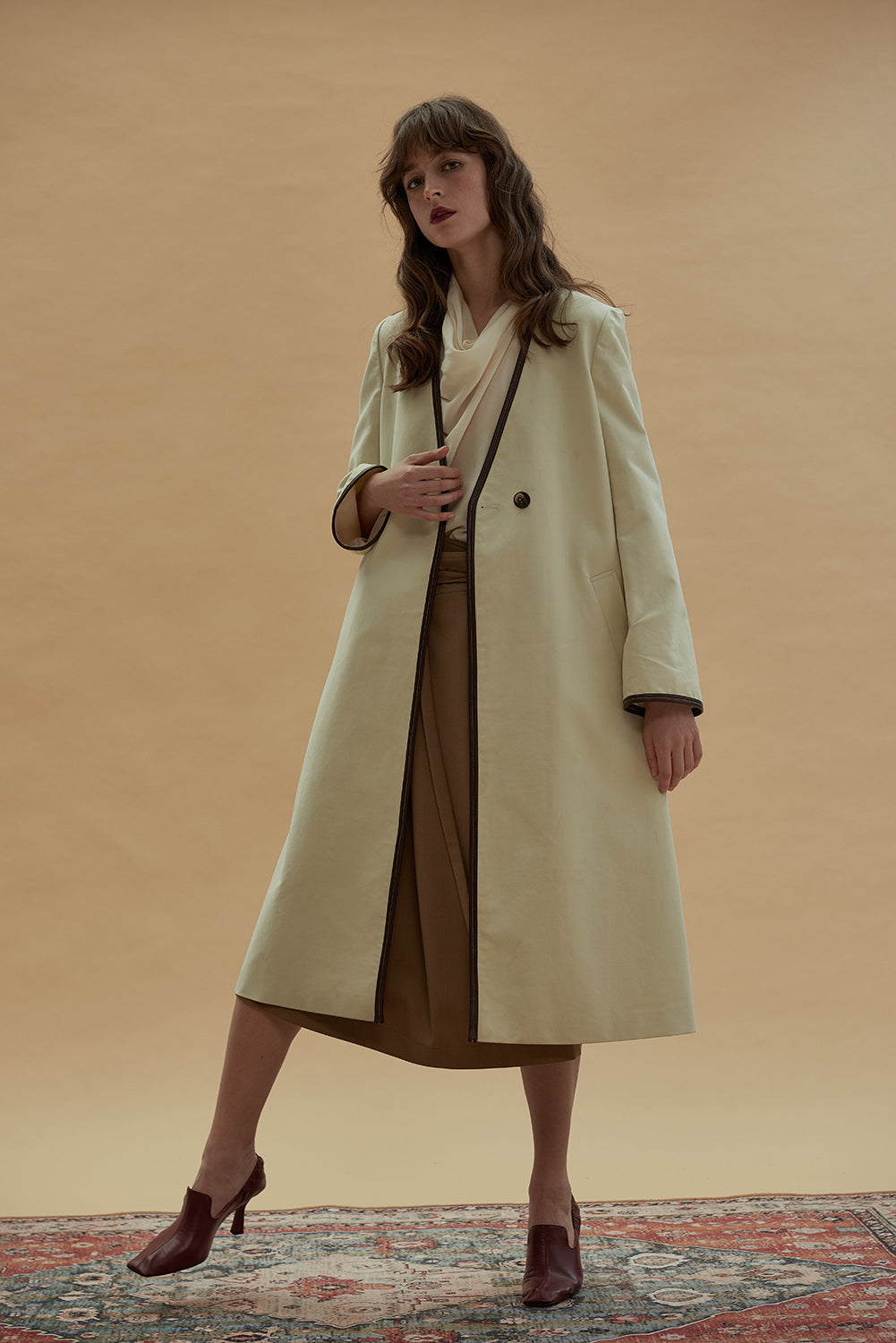 Rapture Trench Coat-Ecru