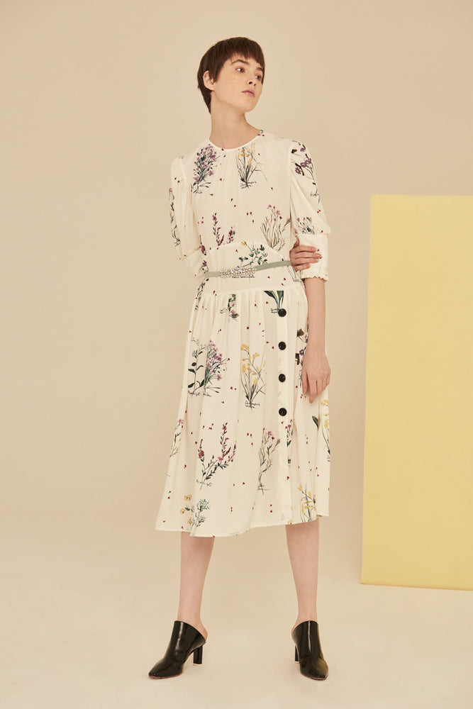 Floral Print Button Up Chiffon Dress