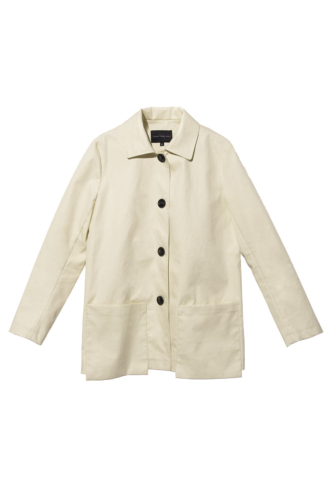 Cream A-line Trench Coat - front row shop