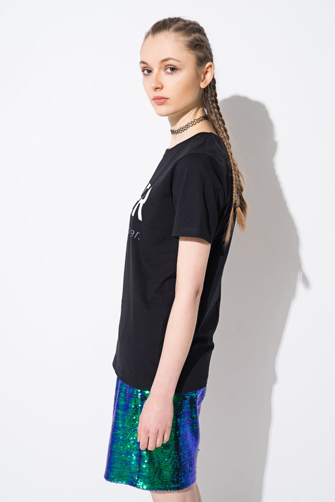 Black 'Lover' Graphic Basic T-shirt - front row shop