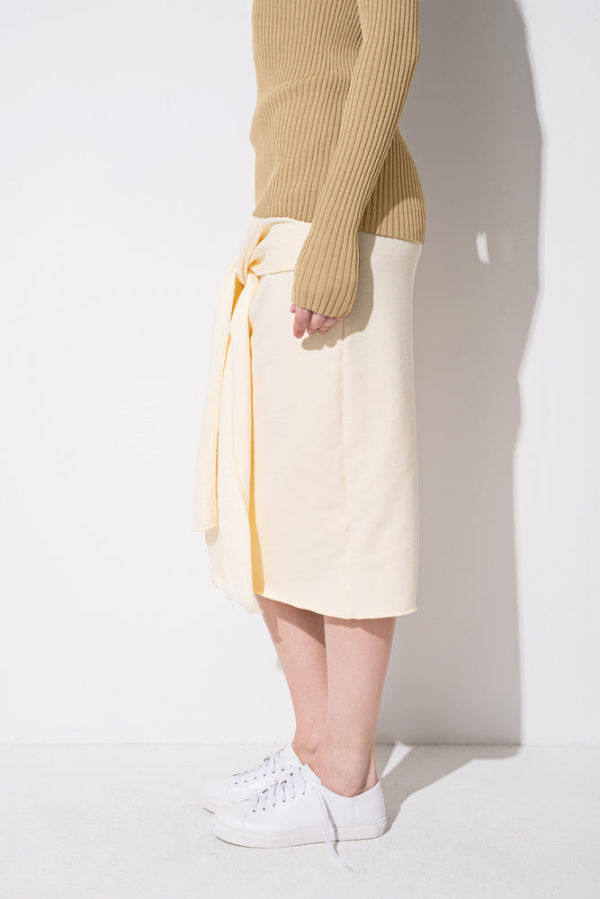 Beige Wrap Tie Thigh Split Skirt - front row shop