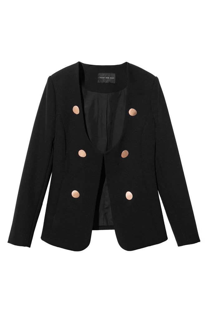 Black Double-Breasted Blazer - front row shop