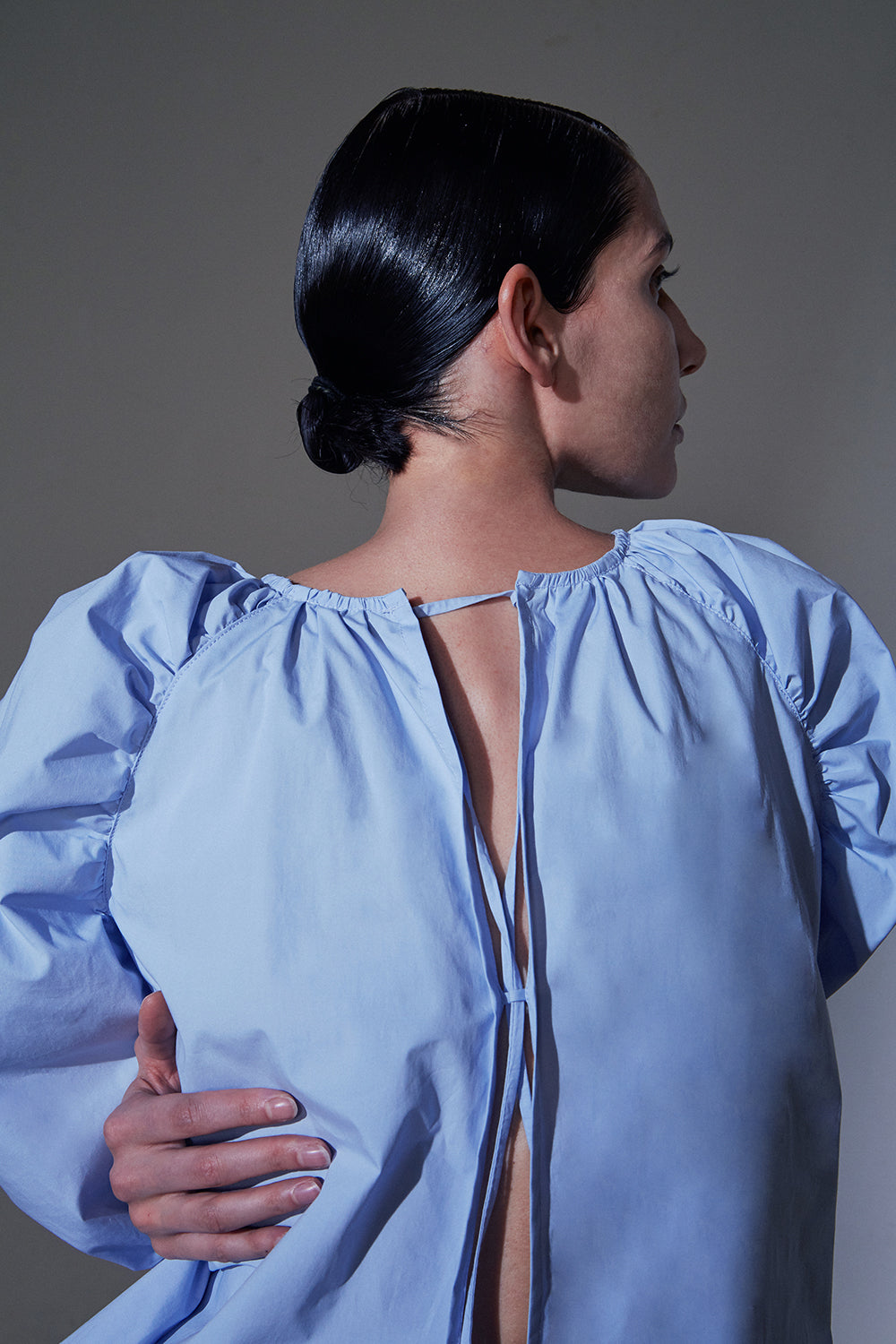 Puff Sleeves Blouse-Sky Blue