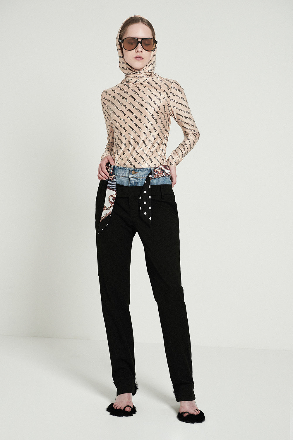Denim Patchwork Double Waist Trousers - front row shop