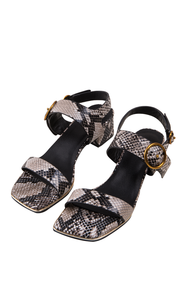 Strappy Chunky Heeled Sandals-Snake Print