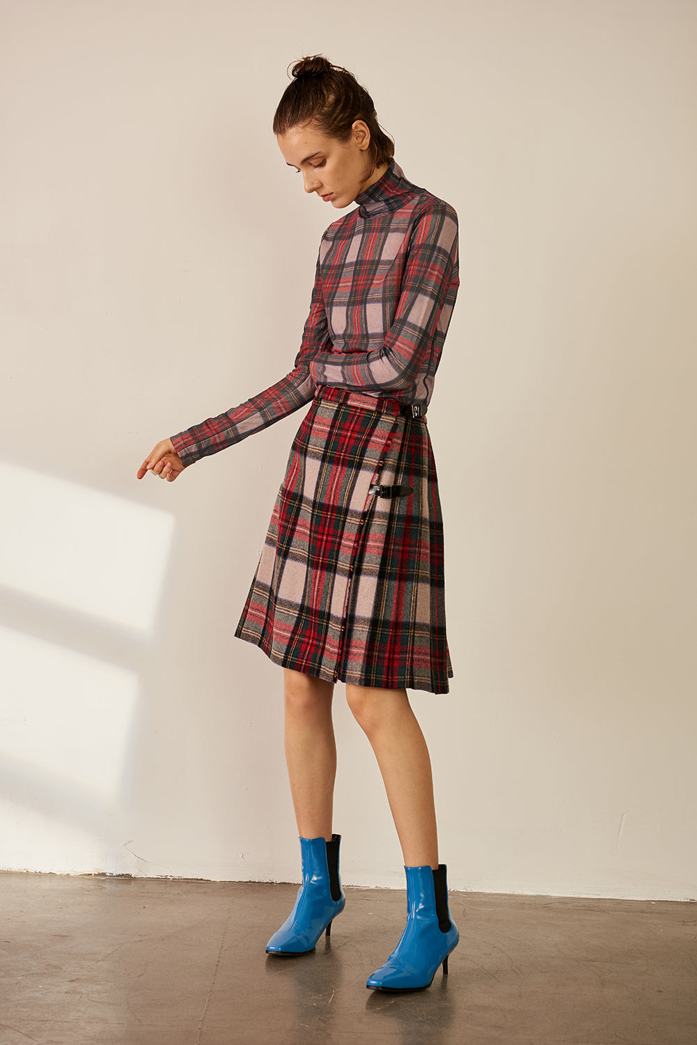 Checked Wool-blend Skirt