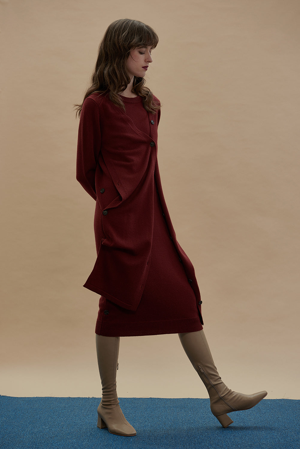 Multifunctional Merino Wool Dress-Rosewood Red