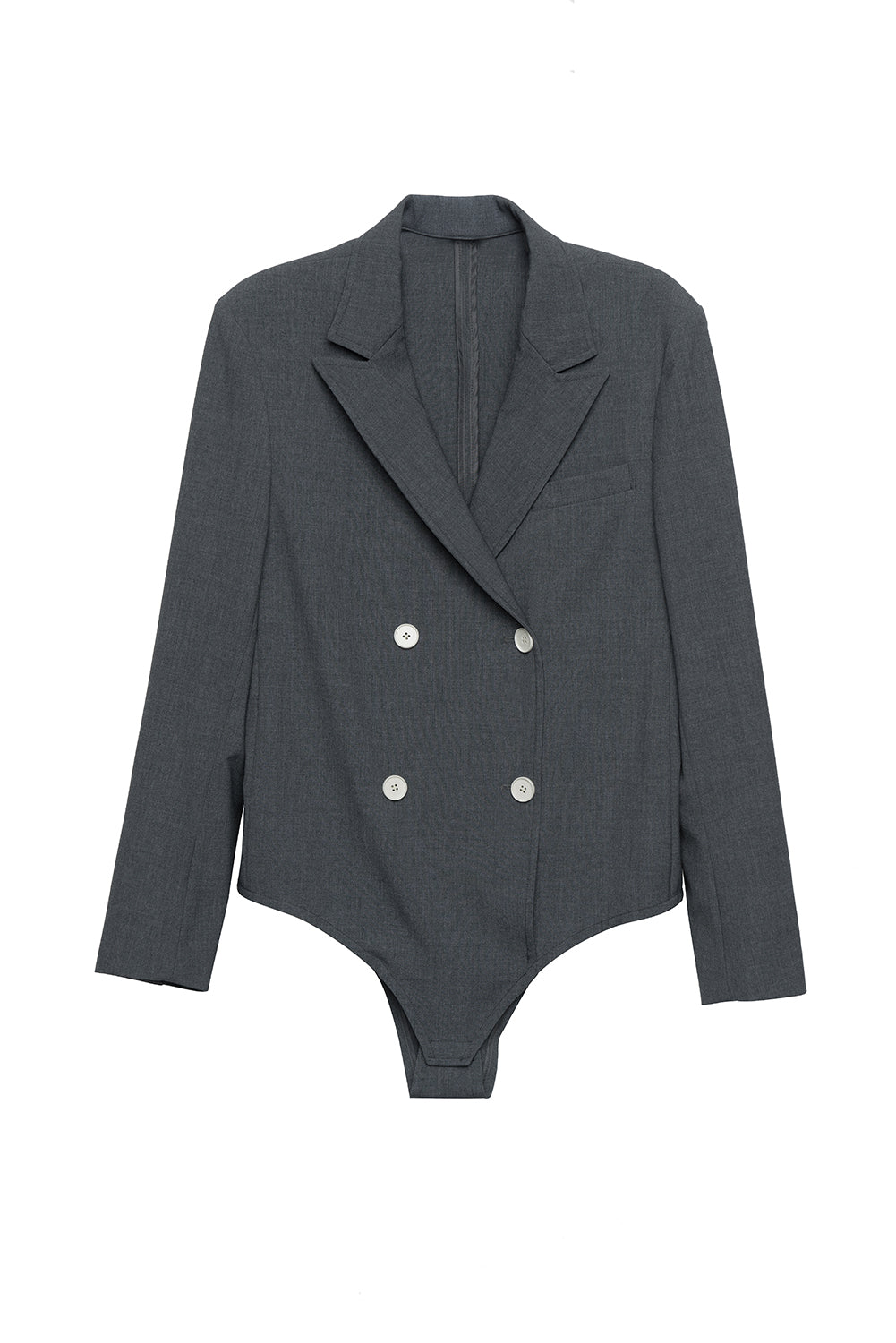Double-breasted Blazer Style Bodysuit Shirt - front row shop