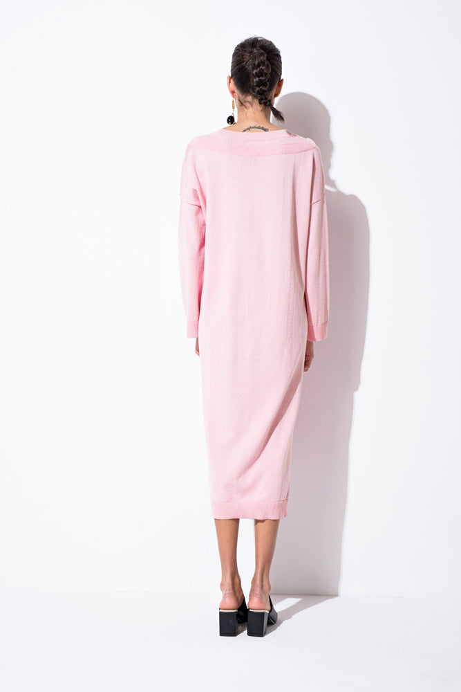 Pink Knitted Midi Dress - front row shop