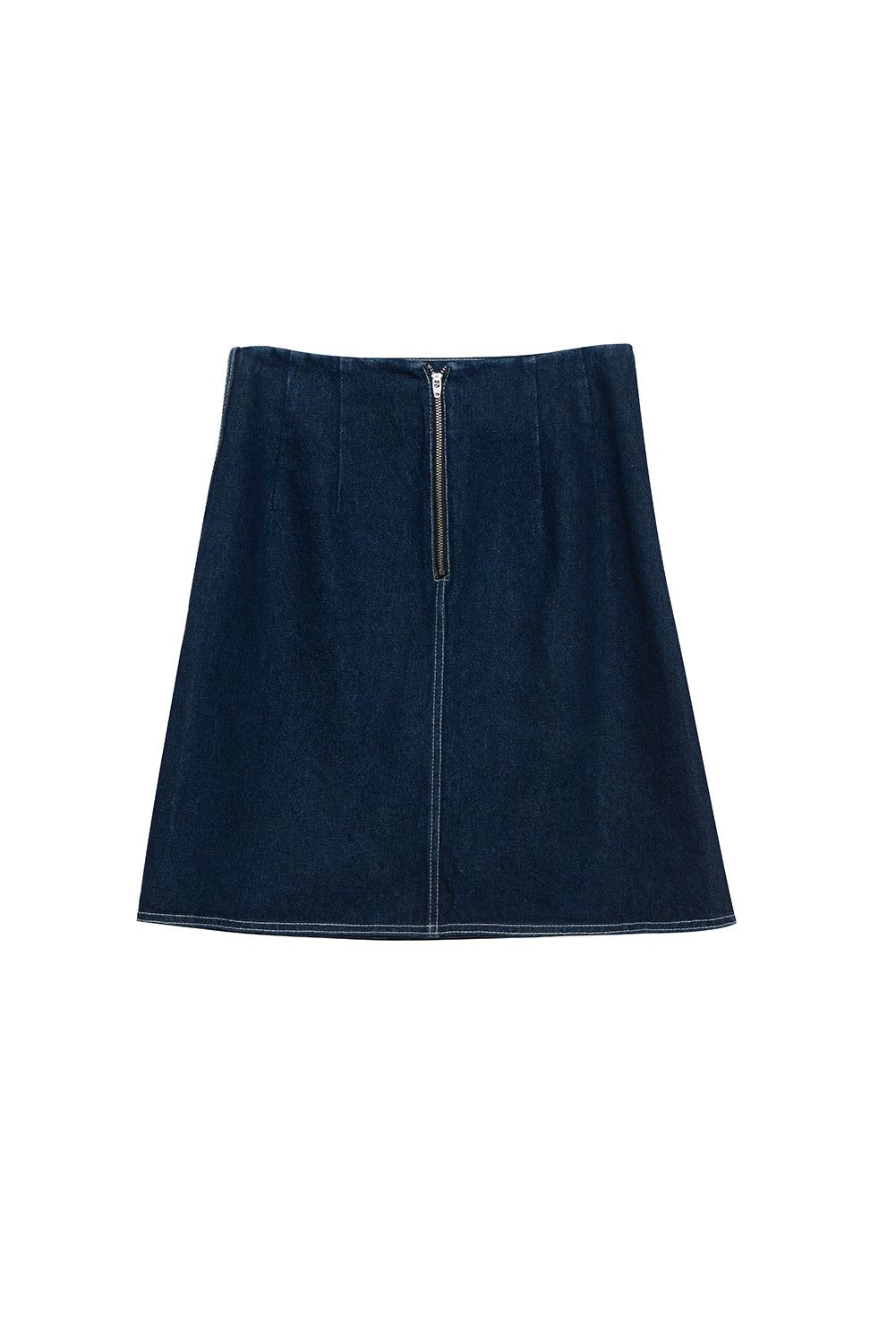 Denim Mini Skirt With Removable Twilly Scarf - front row shop