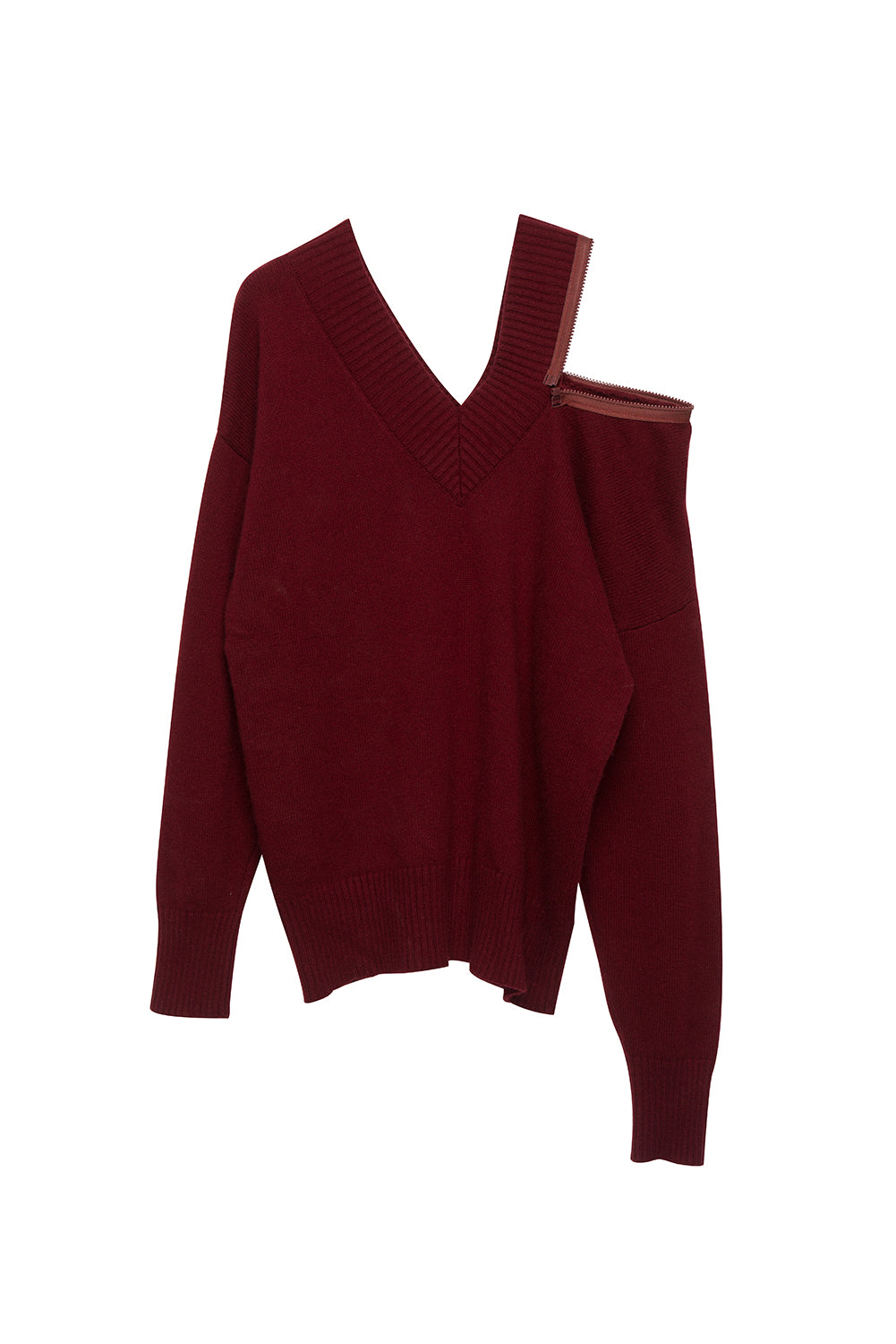 V-neck Loose Sweater-Red