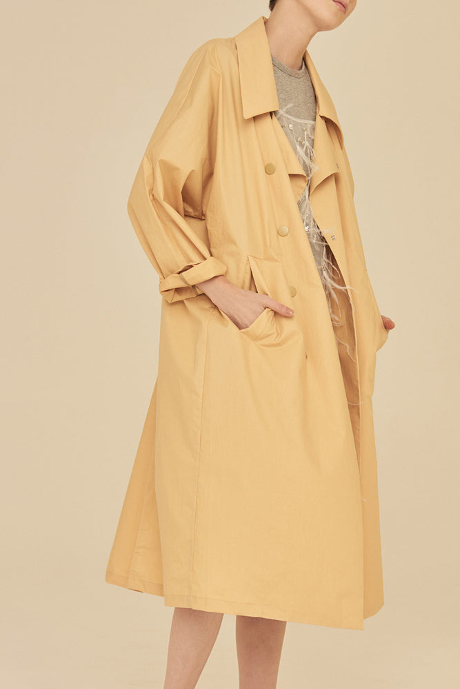 Oversized LightWeight Trench Coat-Yellow - front row shop