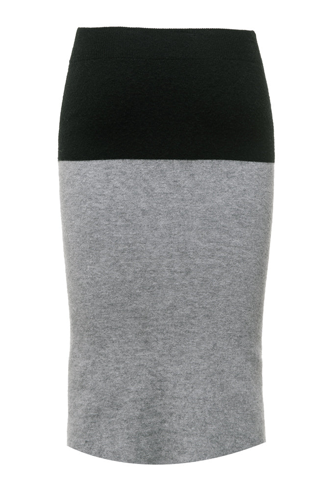 Grey Colorblock Knee-length Knit Skirt - front row shop