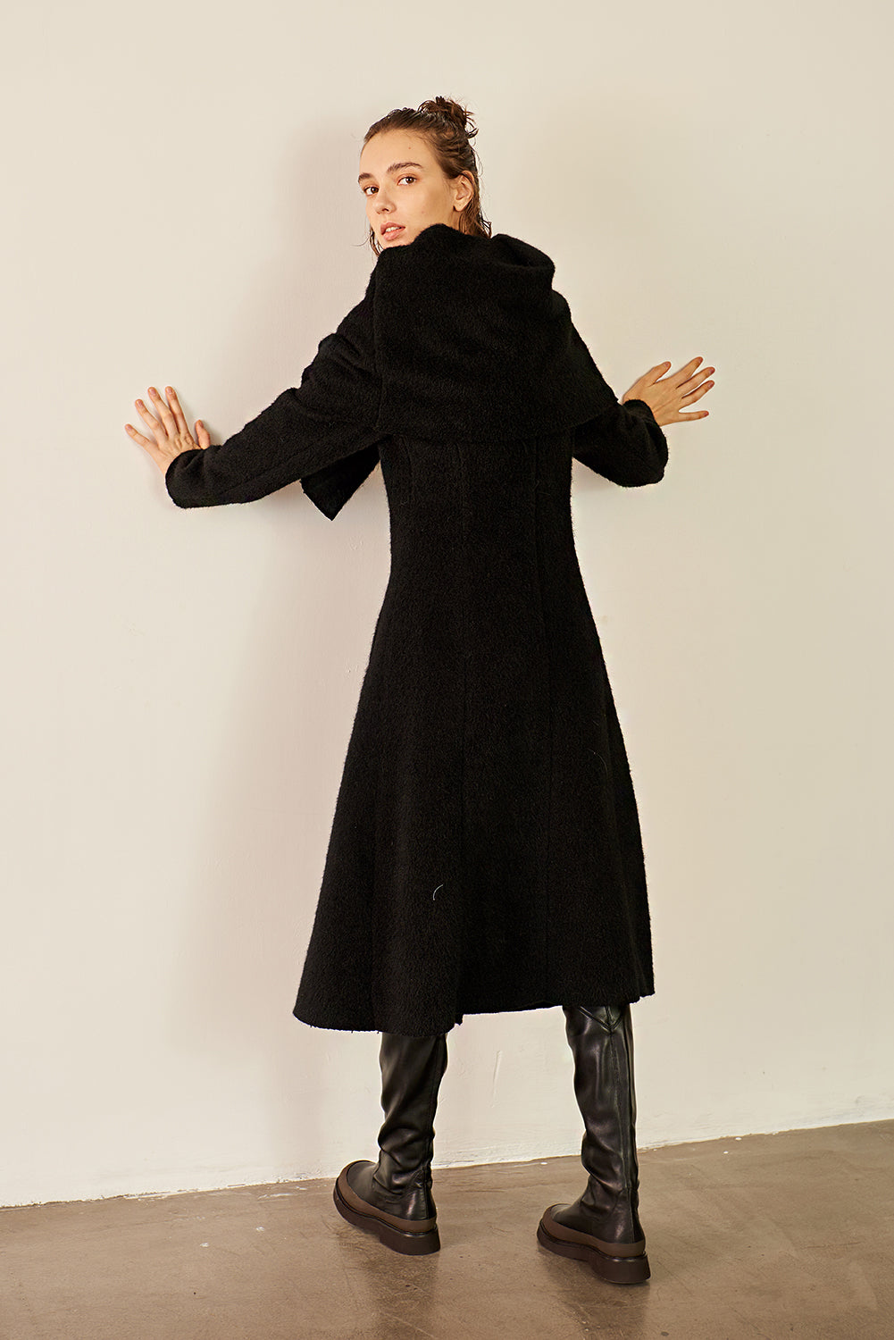 Scarf Style Collar Wool-blend Coat-Black