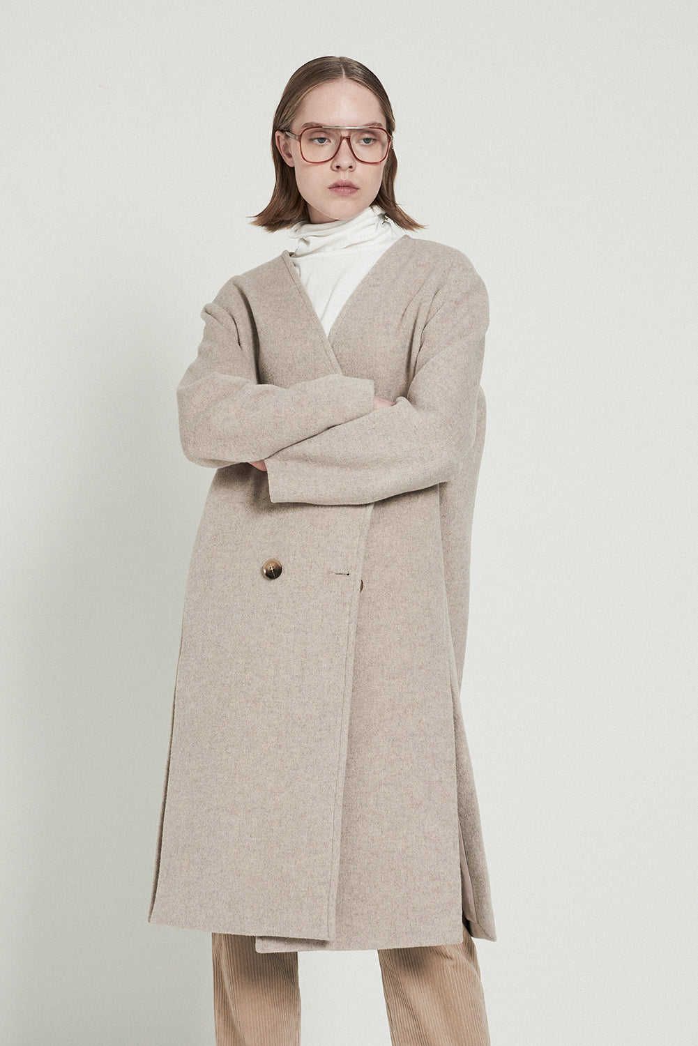 Closure Collar Wool-blend Two-piece Coats - front row shop
