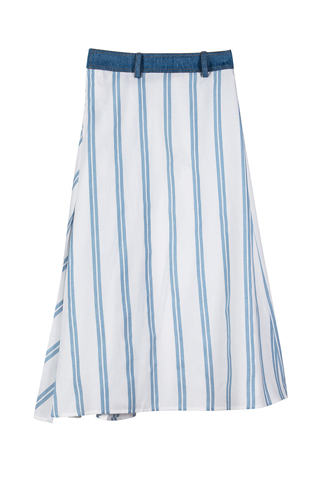 Blue Stripe Midi Skirt With Denim Waistband - front row shop